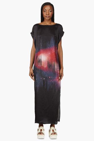 cosmic black clothes dress pink women silk glint long dresses