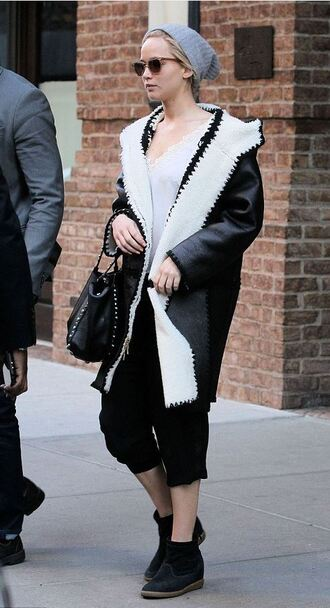 bag coat fur fur coat jennifer lawrence