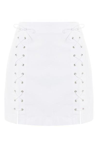 Topshop skirt denim skirt denim lace white white lace