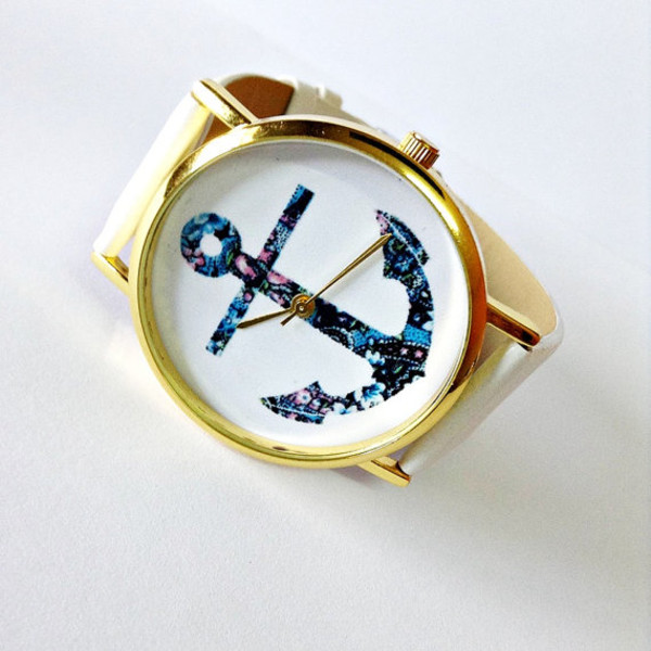 jewels anchor watch leather watch white jewelry fashion style accessories
