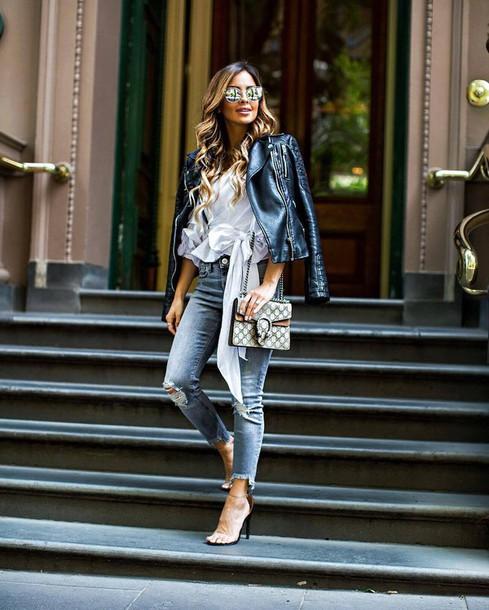 6af8d21ccd6a jeans tumblr denim blue jeans sandals sandal heels high heel sandals  leather jacket black leather jacket