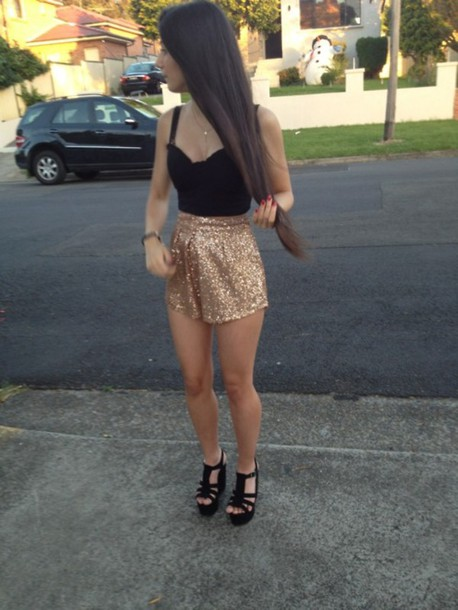 gold glitter shorts high waisted hipster