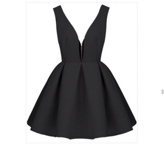 black dress backless dress thick strap short dress skater dress zip front cute dress black v neck flare bottm dress black v neck backless sleeveless