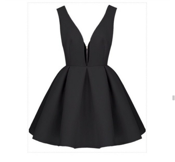 black dress backless dress thick strap short dress skater dress zip front cute dress black v neck flare bottm dress black dress black v neck backless sleeveless