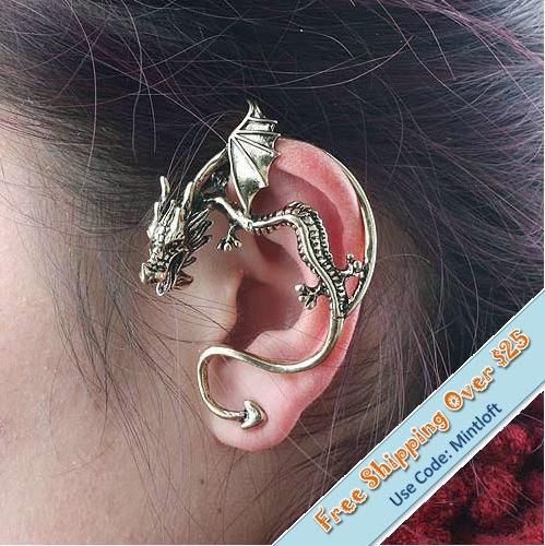 Gothic punk dragon earring1 piecedragon by mintloftcom on etsy
