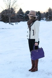 lilly's style,blogger,hat,blue bag,brown leather boots,white jacket