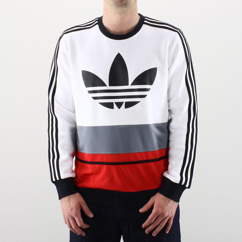 watch 4829c f9e6f New Adidas Originals C90 Art Fleece Crewneck White Blue Red Gray ...