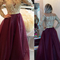 [$159.99] illusion scoop long sleeves burgundy prom/evening dress with appliques buttons