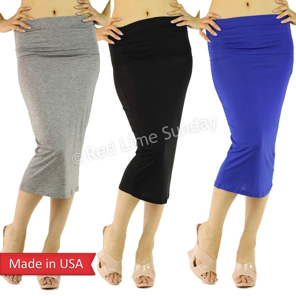 Women Fashion Lightweight Wide Waistband Solid Color Straight Pencil Skirt USA