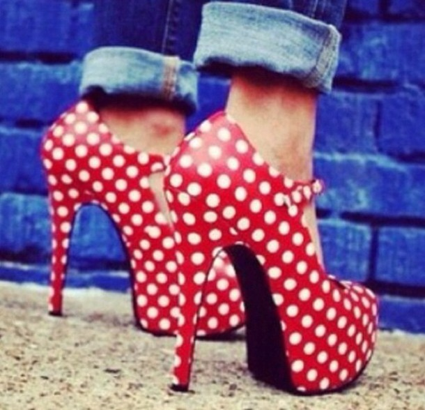 Shoes Romper Minnie Mouse High Heels Polka Dots Black And White