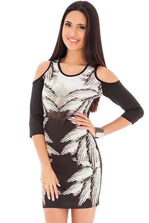 Cutaway Shoulder Mirror Print Dress