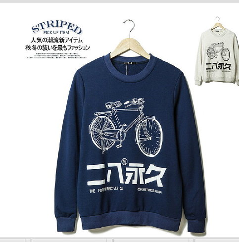 Men's 2014 autumn bicycle printing sweater from uzip on storenvy