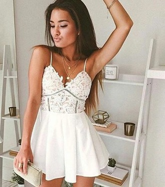 dress white dress boho dress cute dress cute short dress festival white summer dress summer graduation gormal sexy short silver v neck not sleves lace dress strappy pretty semi formal dress white lace dress mini dress