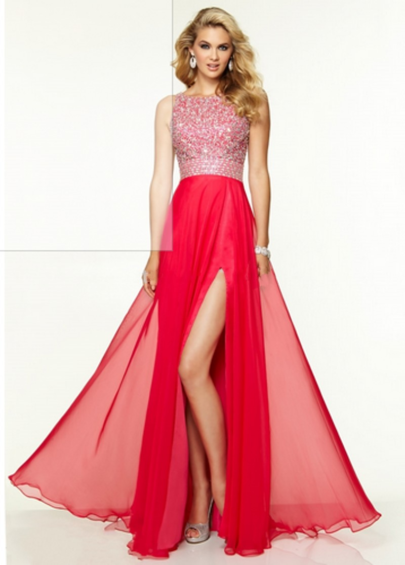 New Style Round Neck Open Back High Slit Chiffon Beaded
