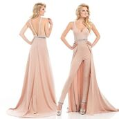 jumpsuit,prom jumpsuit,dress,prom dress,rose,pink jumpsuit,pink dress,homecoming