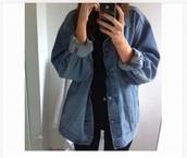 jacket,denim jacket,oversized denim jacket,cute,rolled up sleeve,baggy,blue,denim,winter jacket,long sleeves