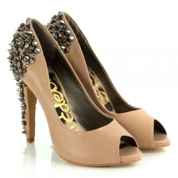 Sam Edelman Nude Lorissa Women's Spiked Peep Toe Shoe