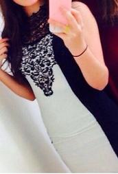 dress,black and white,little black dress,lace,monochrome