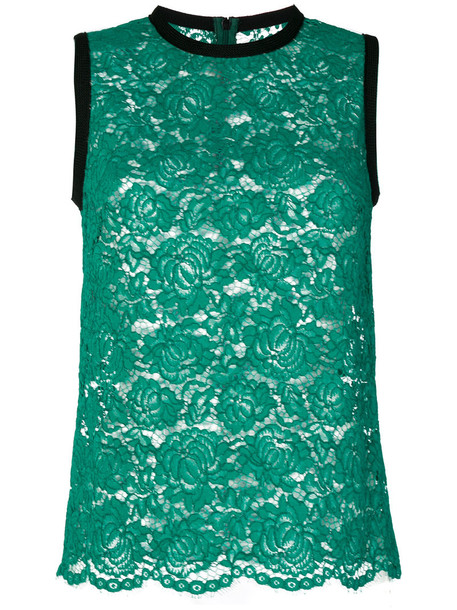 top women lace cotton green