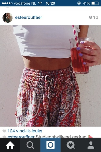 pants indie rood wit print aztec summer zomer hipster high waisted