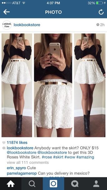 blouse skirt suit black and white rose skirt 3d rose tank top dress shoes belt 3d roses white skirt golden belt roses high waisted skirt fashion ahead shirt black and white dress