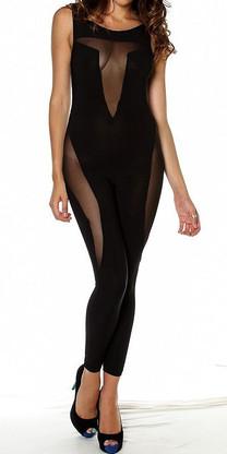 Black sheer panel sleeveless bodysuit