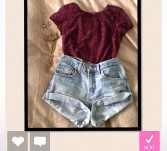 lace top denim shorts burgundy