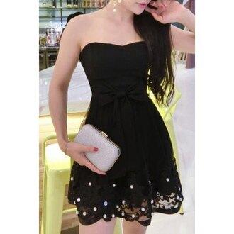 dress strapless bow fashion party summer black girly feminine trendsgal.com