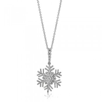 Sterling Silver Cubic Zirconia CZ Snowflake Pendant Necklace #n767-01