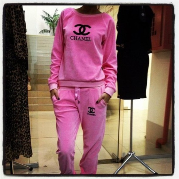 chanel tracksuit. sweater chanel tracksuit pink hoodie oversized jumpsuit pants top wheretoget