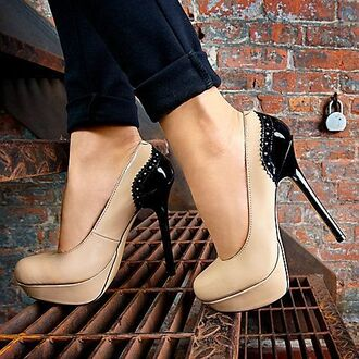 shoes high heels nude black