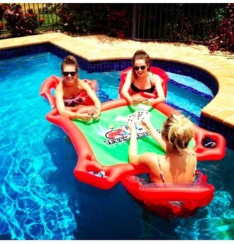 home accessory card game pool floating pool summer lifestyle pool accessory pool party