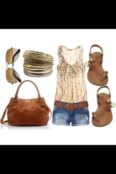 blouse bag jewels belt shoes tank top gold sequence gold bracelet short shorts brown sandals cute leather purse cute outfits brown leather purse handbag sparkly tan country tank top top outfit