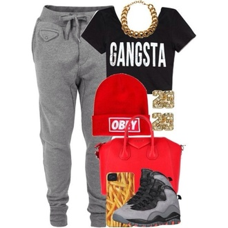 beanie red black grey gold gangsta bag jordans sweatpants jewelry jewels shoes