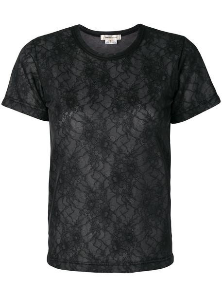 Comme Des Garçons - lace T-shirt - women - Nylon/Rayon - XS, Black, Nylon/Rayon