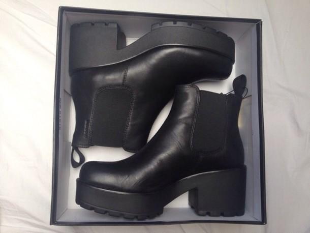 shoes black platform boots