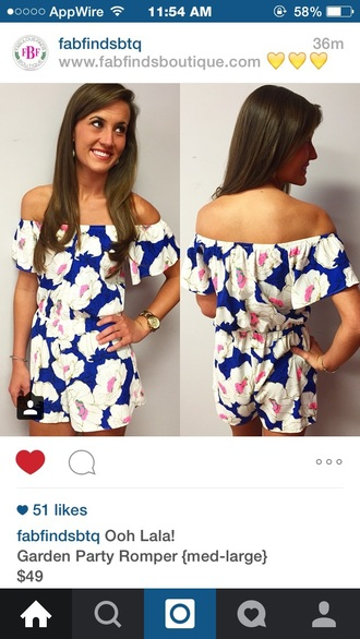 romper flowers blue white pink whiteflower boutiqueclothing boutique off the shoulder pretty beautiful summer whiteflowers