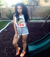 shorts,grey shorts,pants,shoes,shirt,india westbrooks,blouse,t-shirt
