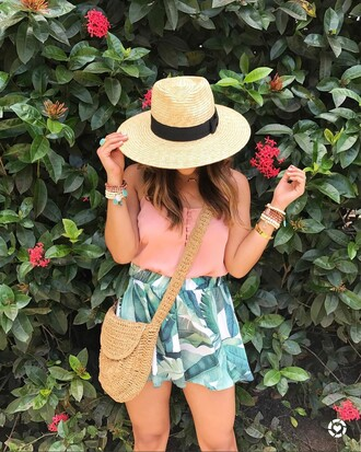 shorts tumblr top pink top bag crossbody bag hat sun hat straw hat bracelets accessories accessory spring outfits