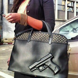 bag girl gun studs gold black leather heart bracelets