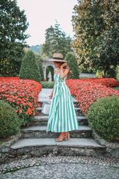 southern curls and pearls,blogger,dress,bag,hat,shoes,jewels,striped dress,sandals,summer outfits