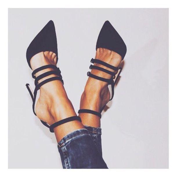 shoes strappy black heels black high heels strappy heels strappy heels  ankle strap pointed toe pumps
