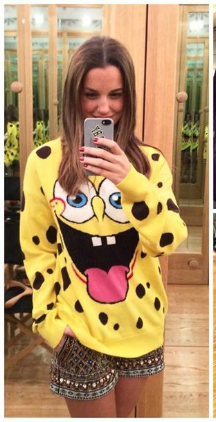 cardigan spongebob costume moschino yellow sweater cute fall outfits