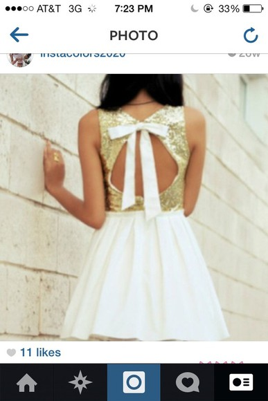 dress gold sequins white skirt, open back, cute, short dress