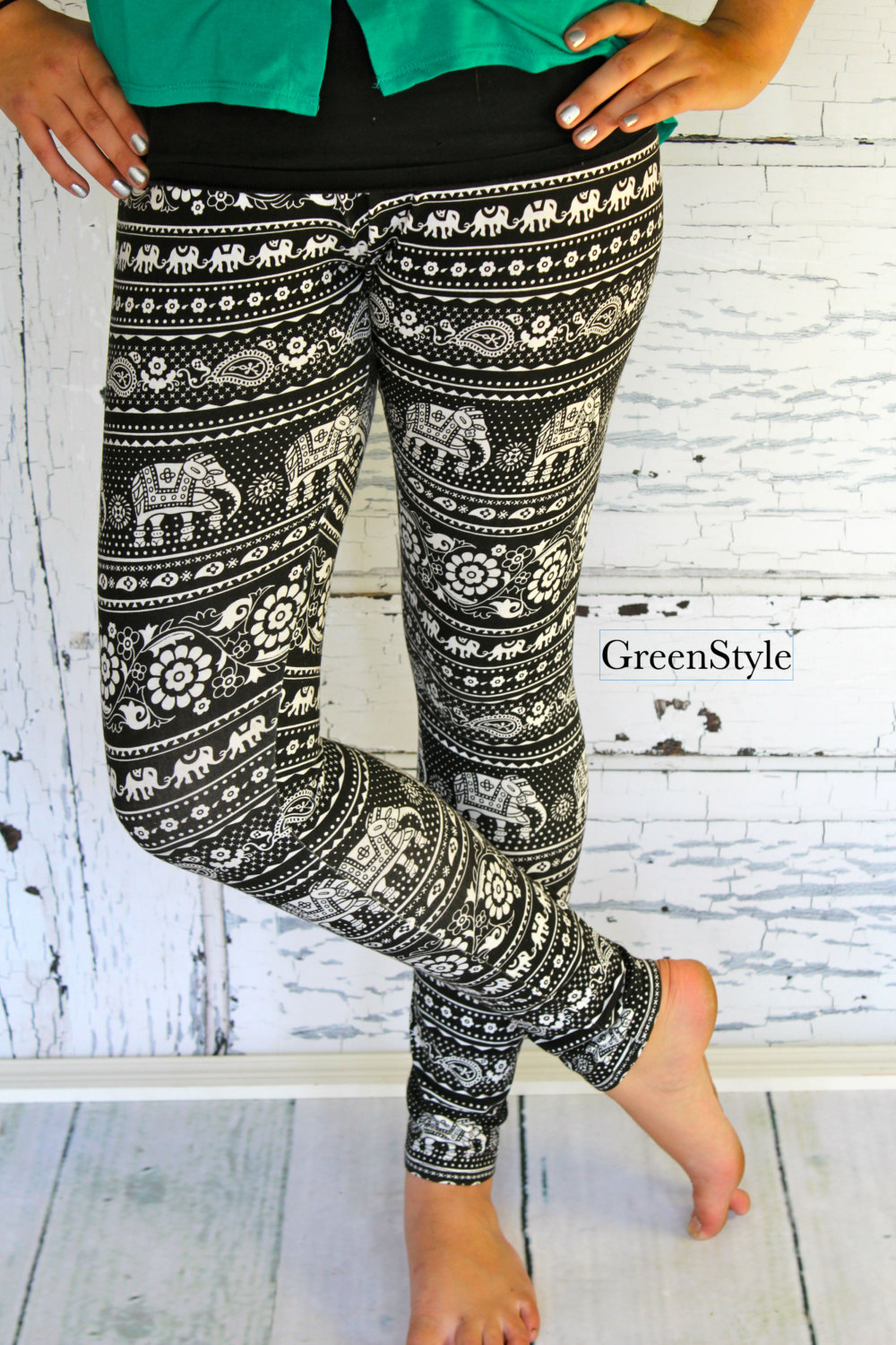 Black and Ivory Asian / Indian Tribal Elephant Leggings in Teen to Women's sizes from GreenStyle