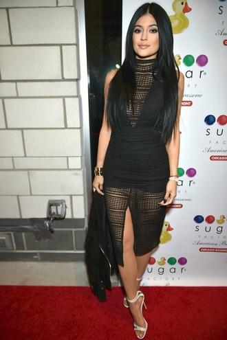 dress black dress kylie jenner dress mesh dress