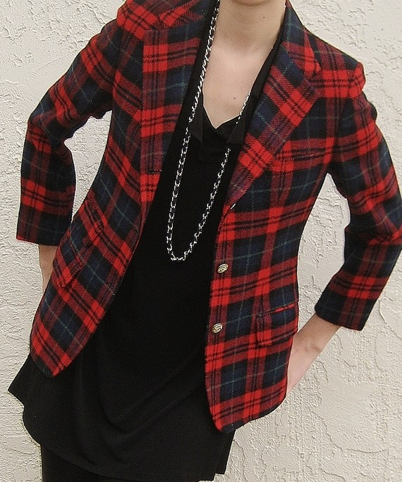 Vintage red plaid bagpiper blazer by passthelove on etsy