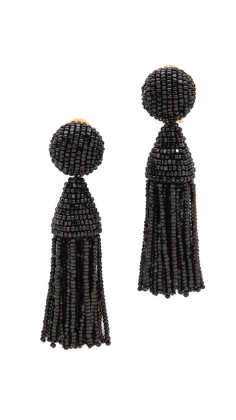 Oscar De La Renta Classic Short Tassel Earrings - Black
