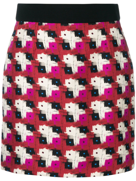 FAUSTO PUGLISI skirt patterned skirt women spandex black silk