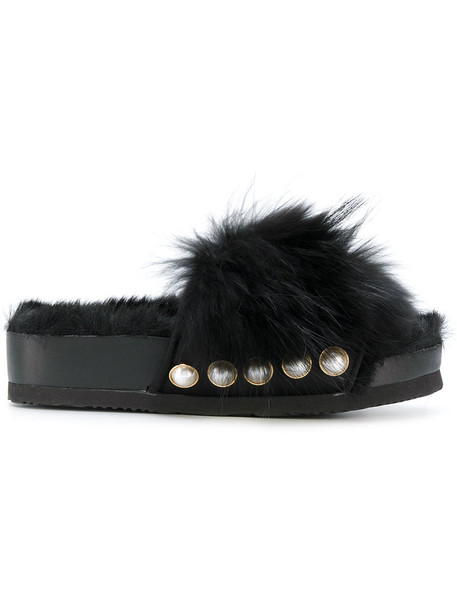 Suecomma Bonnie fur fox women sandals black shoes